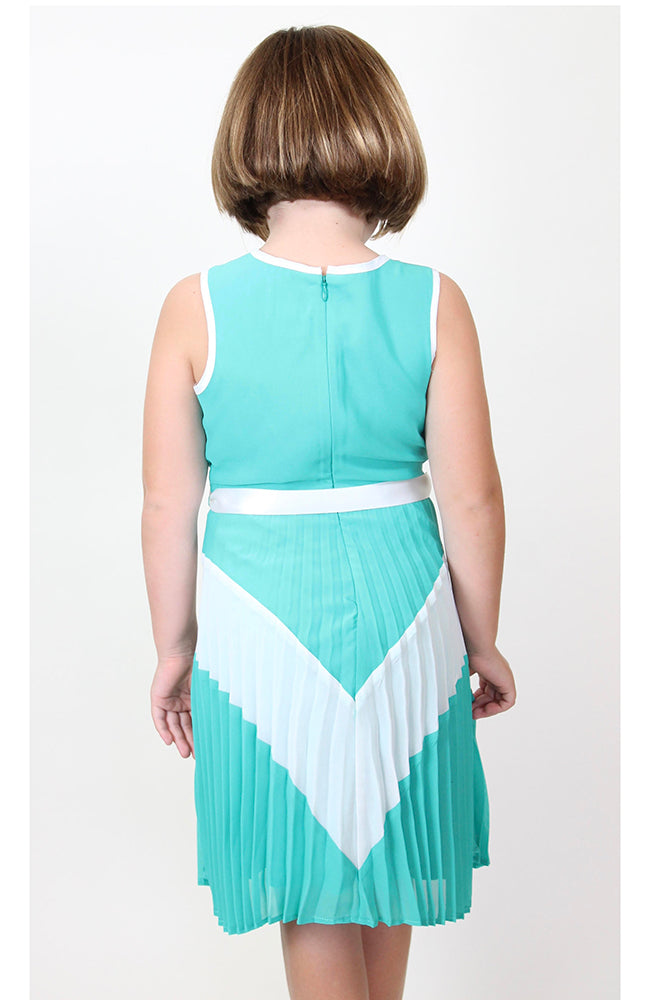 """Sleeveless Color Block w/ Pleated Skirt"" Dress by Blush"