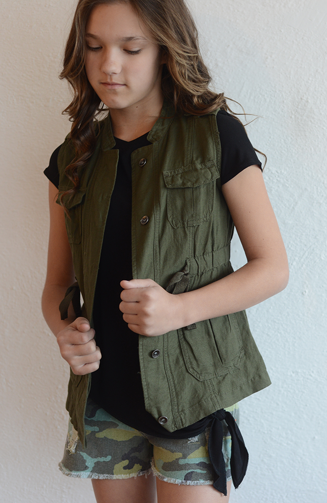 "Tractr ""Olive Button-Down Vest w/ Drawstring Waist"""