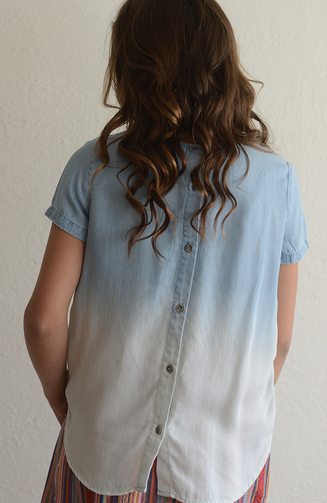 "Tractr ""Denim Washed Out Top  w/ Button-Down Back"""