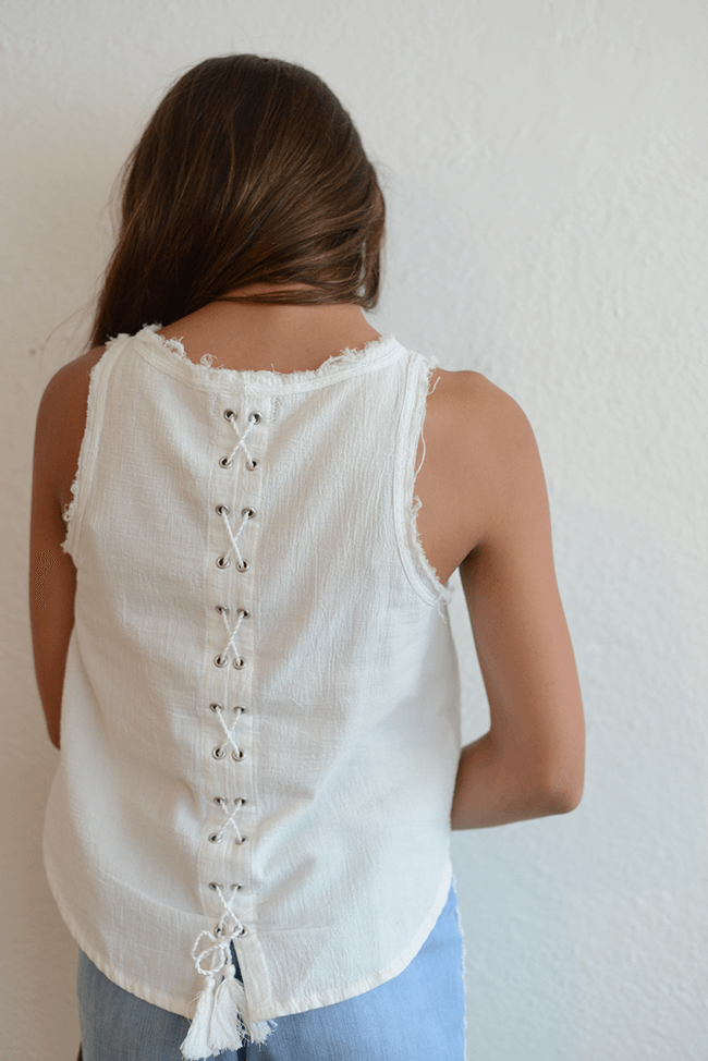 "Tractr ""Lace-Up Back"" Top"