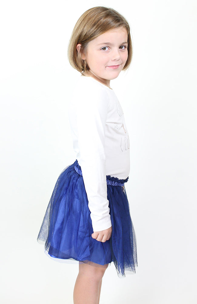 Billieblush Tulle Skirt w/ Velvet Waist Trim + Sequin Patch