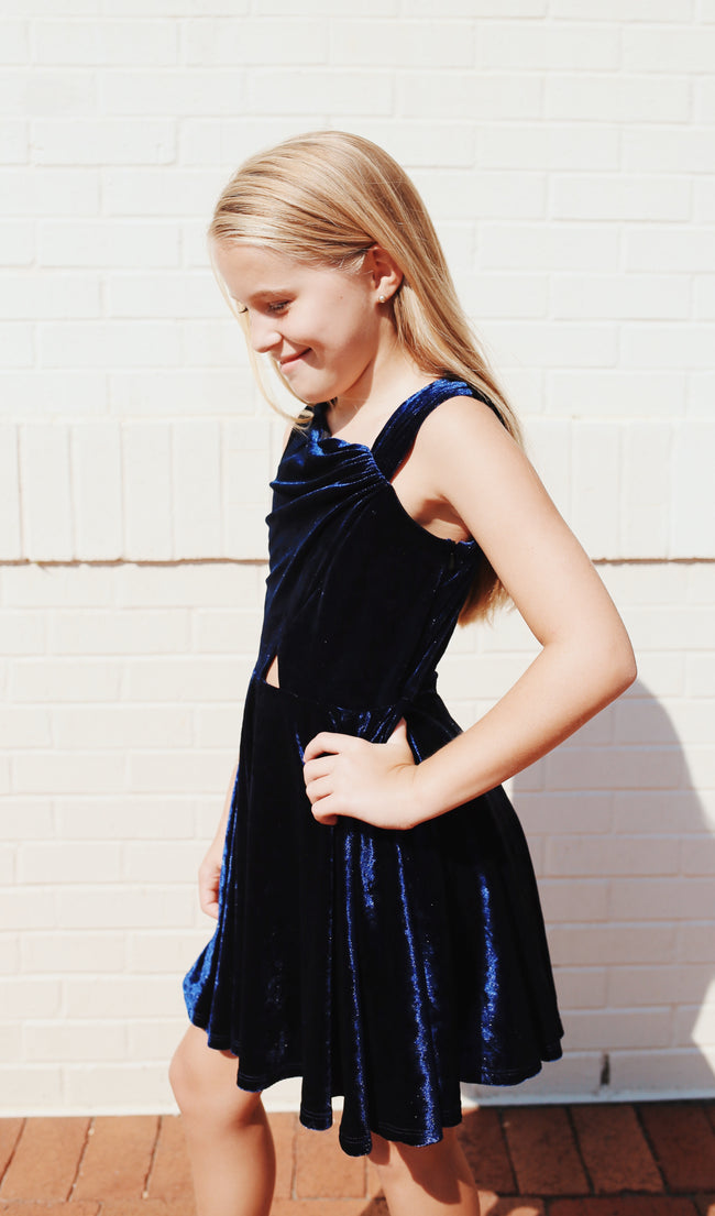 "Gigi Ri ""The Charlotte Dress"" Blue Velvet"