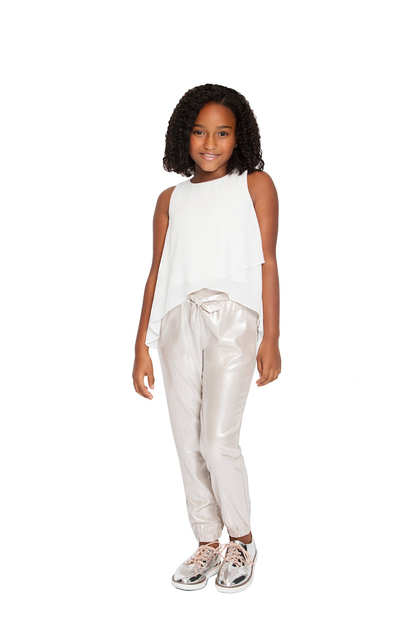 Tween Chiffon Crossover Top (White)
