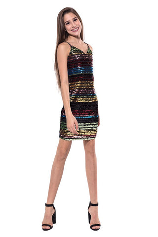 "Rosie G ""Girls Cutout Stripe Dress"""