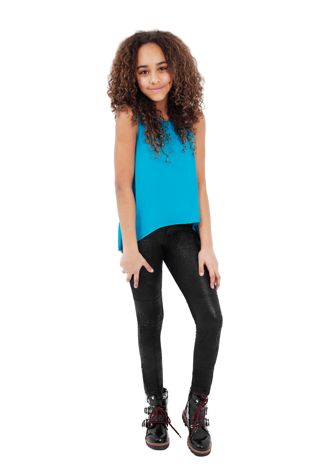 Tween Leather Bottom Leggings ~ Black
