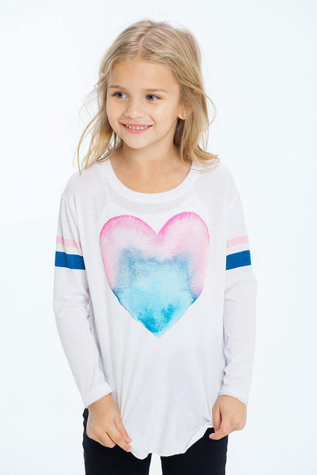 "Chaser Girls Graphic Tee ""Painted Heart"""