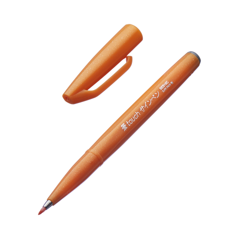 Pentel Fude Touch Brush Sign Pen - Orange - The Desk Bandit
