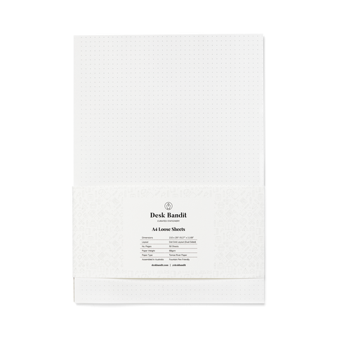 Desk Bandit A4 White 68gsm - 50 Sheets (Dual Sided Dot Grid) - The Desk Bandit