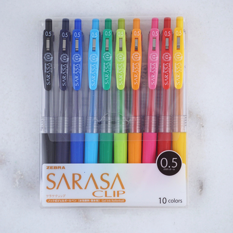 Zebra Sarasa Clip Gel Pens (10-colours) - The Desk Bandit