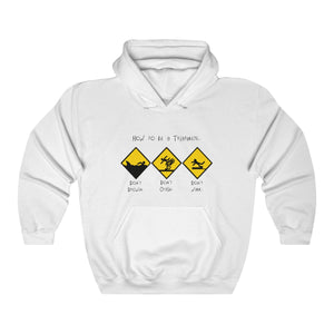 """How to be Triathlete"" Unisex Heavy Blend™ Hooded Sweatshirt (White)"