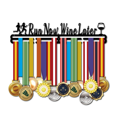 """RUN NOW WINE LATER"" Unisex Medal Hanger (18.11""  CARBON STEEL)"