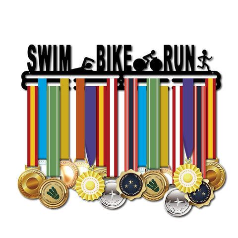 """SWIM.BIKE.RUN"" Unisex Medal Hanger (18.11""  CARBON STEEL)"