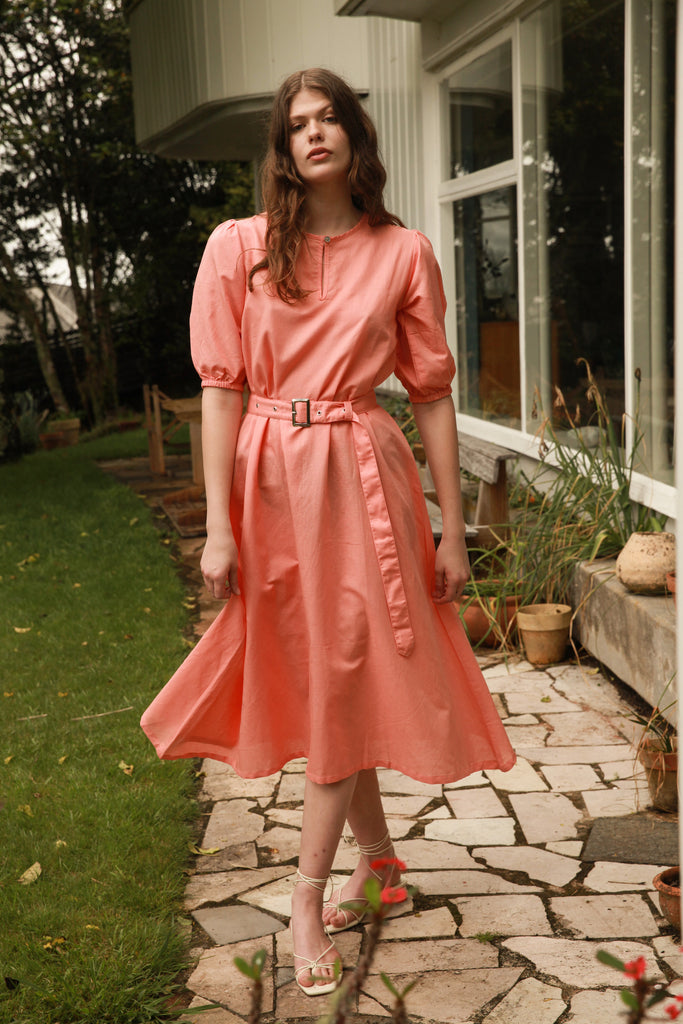 Puff Sleeve Dress - Watermelon