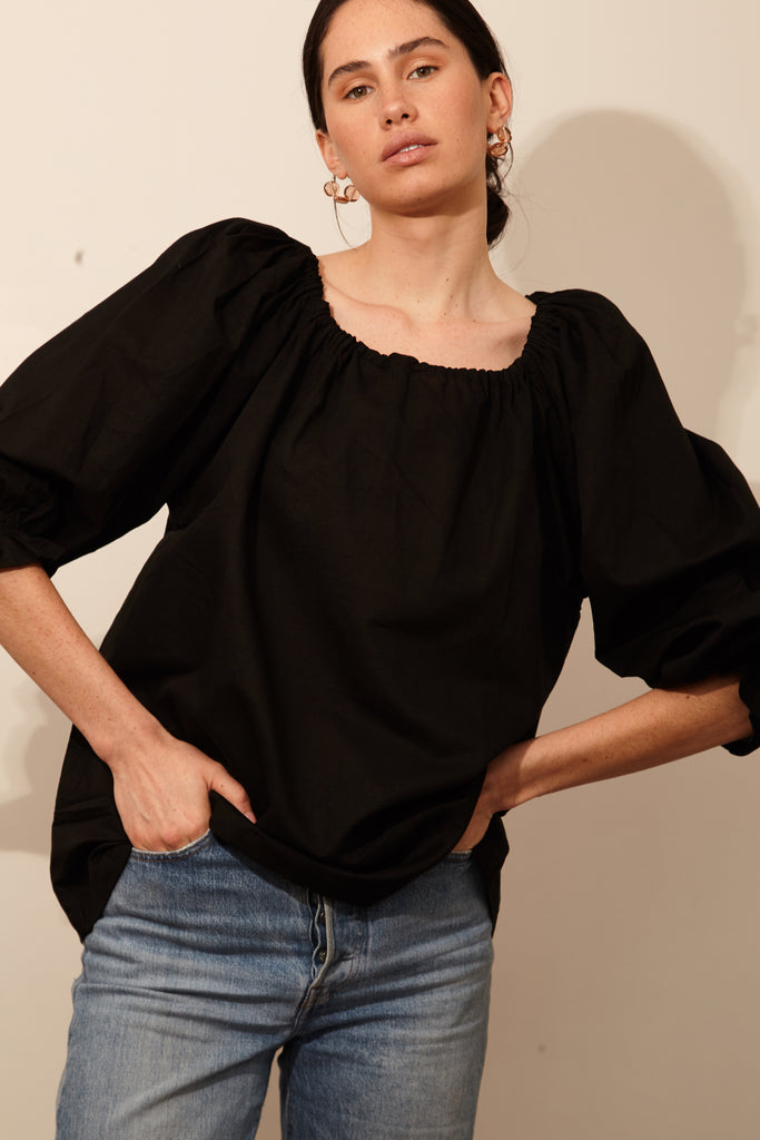 Drawstring Blouse - Black, Blouse, Bare Bones, Mane Project - Mane Project