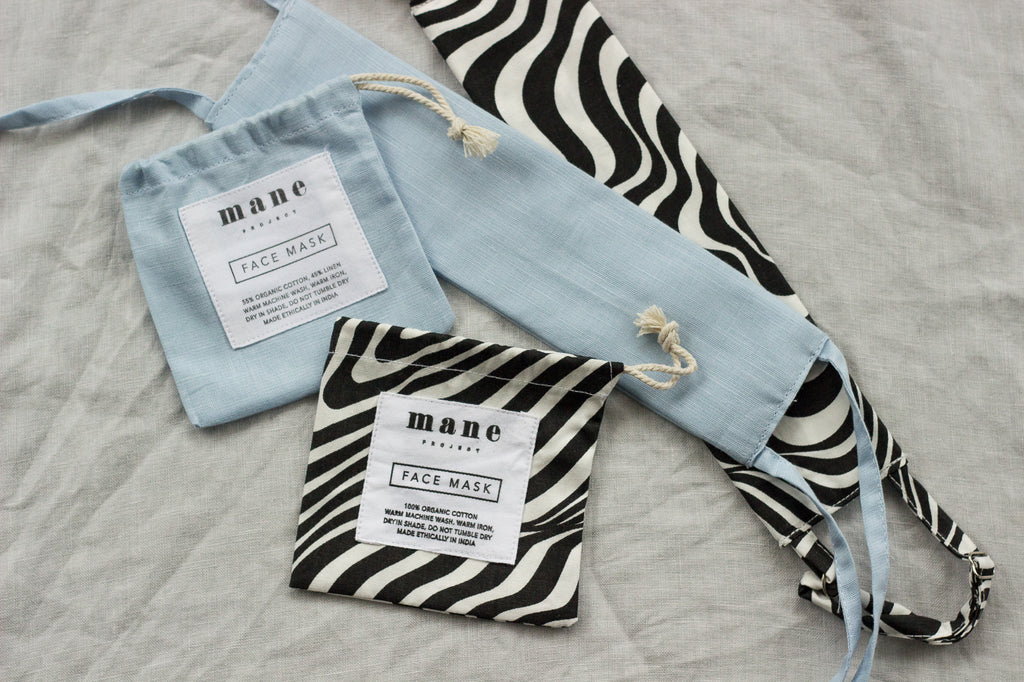Reusable Face Mask - Bundle Pack - Black/White Print & Powder Blue