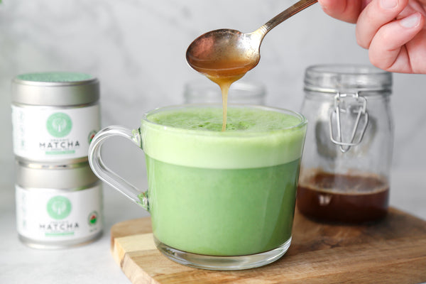 Simple Soy Matcha Latte with Honey-Cinnamon Syrup