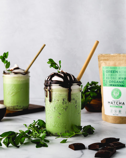 Soar Organics healthy matcha mint chip milkshake