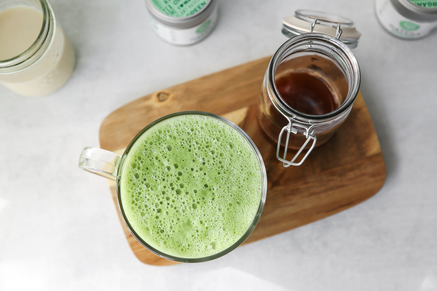Honey cinnamon matcha latte