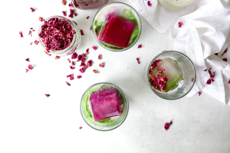 Delicious summer iced matcha lattes with rose ice cubes