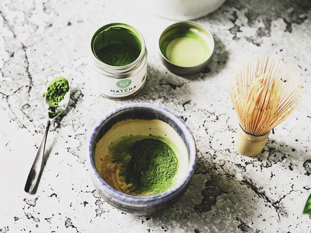 Matcha tin bowl and spoon with whisk