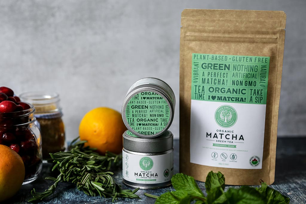 Soar Organics matcha products for sparking matcha recipe