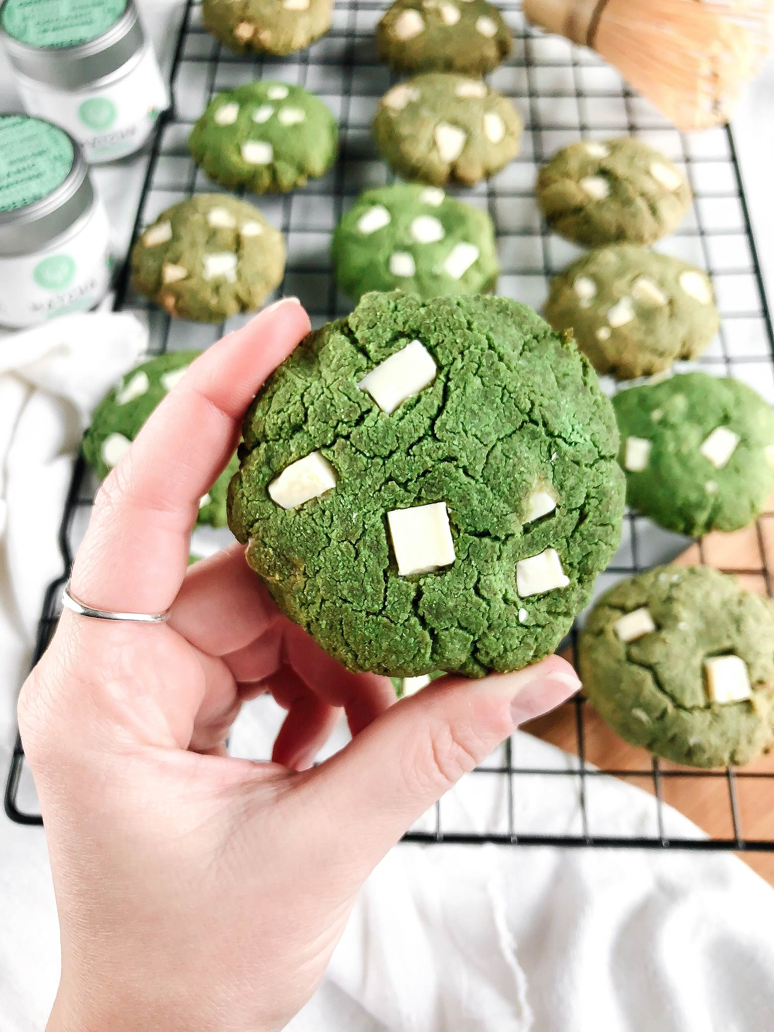 Soar Organics Matcha White Chocolate Chunk Cookies