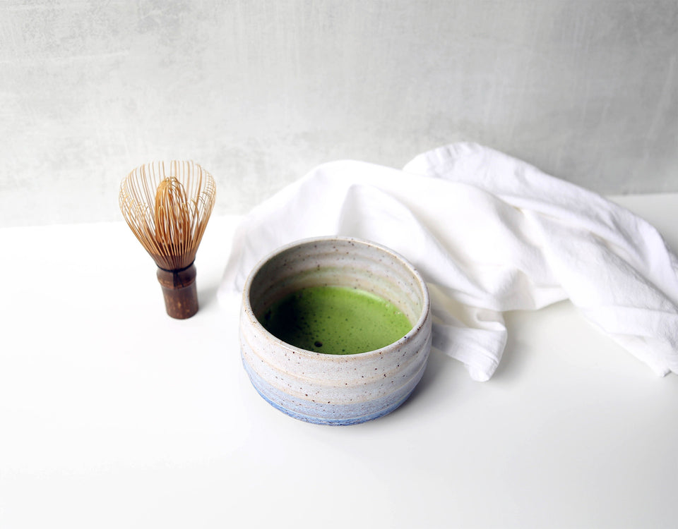 Handmade chawan matcha tea bowl with whisk