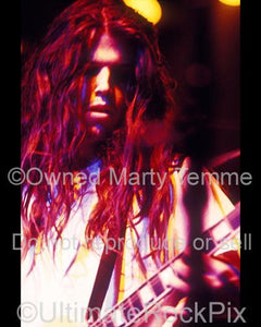 Photos of guitarist Adam Jones of Tool Performing in Concert in 1991 in Hollywood, California by Marty Temme