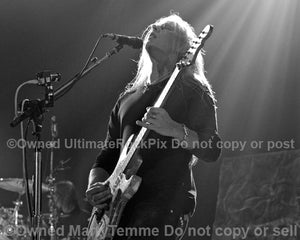 Black and white photo of Jerry Cantrell of Alice in Chains in concert in 2010 by Marty Temme