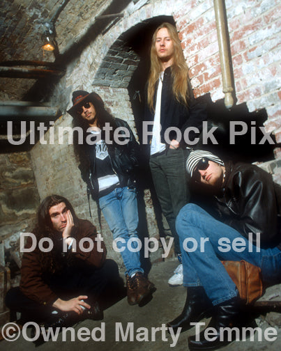 Photo of Alice in Chains during a photo shoot in 1993 in the Seattle Underground by Marty Temme