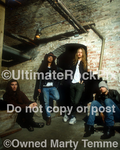 Photo of Alice in Chains during a photo shoot in 1993 in Seattle by Marty Temme