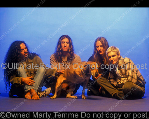 Photo of Sean Kinney, Mike Inez, Jerry Cantrell and Layne Staley of Alice In Chains during a photo shoot in 1995 by Marty Temme