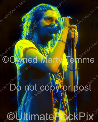 Art Print of Layne Staley of Alice in Chains with dreadlocks in concert in 1991 by Marty Temme