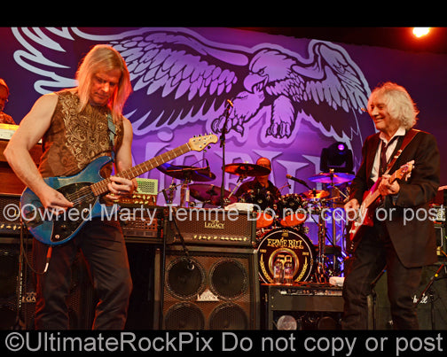 Photo of Albert Lee and Steve Morse playing together in concert in 2012 by Marty Temme