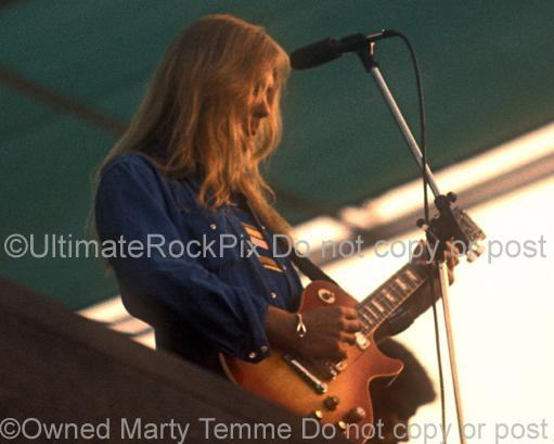 Photos of Gregg Allman of The Allman Brothers Playing a Gibson Les Paul Deluxe in Concert in 1974 by Marty Temme