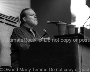 Black and White Photos of Musician Gregg Allman of The Allman Brothers Playing Keyboard in Concert by Marty Temme