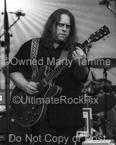 Black and White Photos of Warren Haynes of The Allman Brothers and Gov't Mule Playing a Gibson 335 in Concert in 2006 by Marty Temme