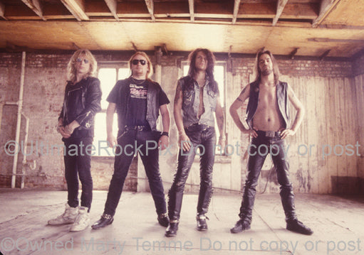 Photo of Ricky Warwick and The Almighty during a photo shoot in 1990 by Marty Temme