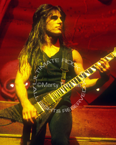 Photo of Dan Spitz of Anthrax in concert in 1991 by Marty Temme