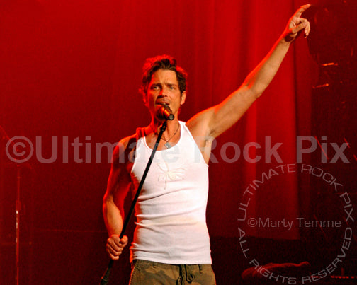 Photo of Chris Cornell of Audioslave in concert by Marty Temme