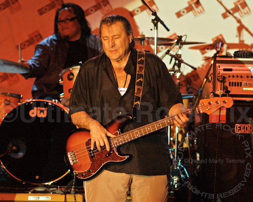 Photo of bass player Bob Babbitt in concert in 2008 by Marty Temme