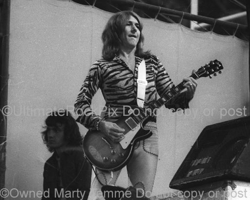 Black and White Photos of Mick Ralphs of Bad Company in Concert in 1974 by Marty Temme