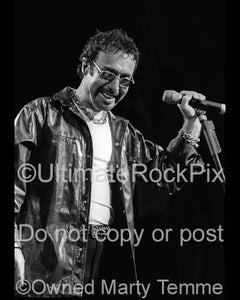 Black and white photo of Paul Rodgers of Bad Company onstage in 2001 by Marty Temme