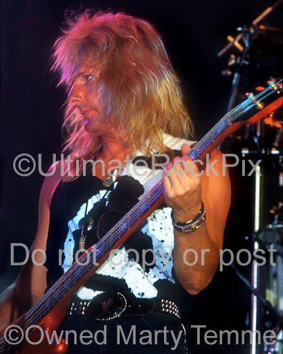 Photo of bassist Ricky Phillips of Bad English in concert in 1989 by Marty Temme