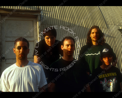 Photo of Greg Graffin, Brett Gurewitz, Jay Bentley, Greg Hetson and Bobby Schayer of Bad Religion in 1993 by Marty Temme