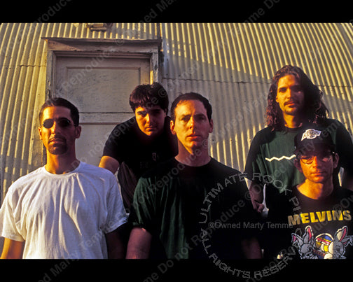 Photo of Greg Graffin, Brett Gurewitz, Jay Bentley, Greg Hetson and Bobby Schayer of Los Angeles Punk Rock band Bad Religion in 1993 by Marty Temme