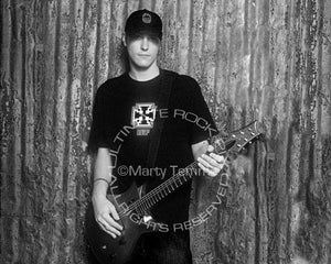 Black and white photo of Benjamin Burnley of Breaking Benjamin during a photo shoot by Marty Temme