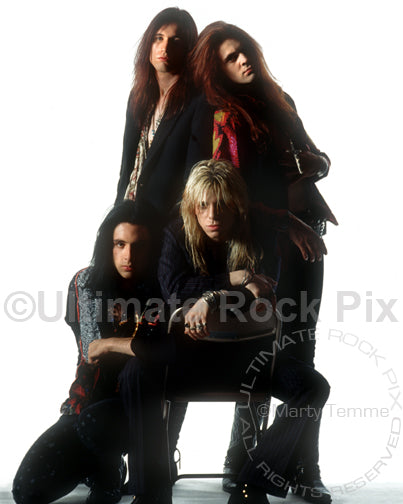 Photo of the band Blackboard Jungle during a studio photo shoot in 1991 by Marty Temme