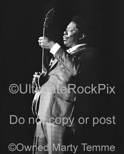 Photo of BB King in concert in the 1970's by Marty Temme