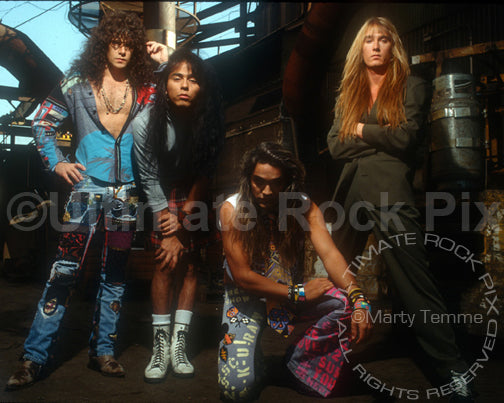 Photo of Marq Torien and BulletBoys during a photo shoot in downtown Los Angeles in 1990 by Marty Temme